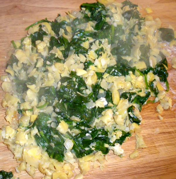 Chop cooked spinach mixture