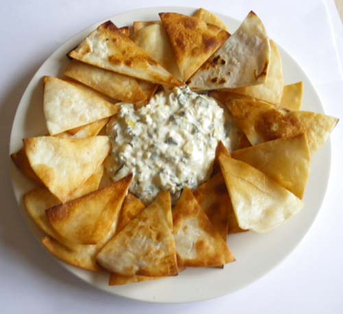 Chips with Spinach Artichoke Cheese Dip