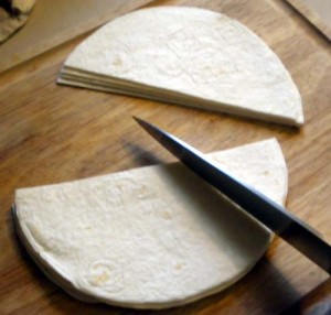 Cut tortilla into wedges